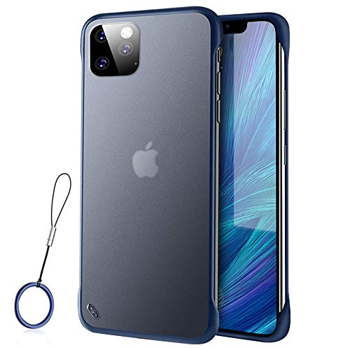 JXTech iPhone 11 Pro Max Frameless Case with Ring, Translucent Matte Ultra Thin Anti-Fingerprints Scratch Resistant Hard TPU Shock Bumper Corners Protective Back Cover Blue
