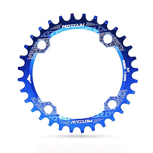 Single Speed Chainring,104BCD Bikes Front Chainrings Professional Lightweight Aluminum Alloy Wear-Resistant Round, Plus Or Minus Narrow Wide Chainring Accessories for Single Speed MTB/BMX,34T