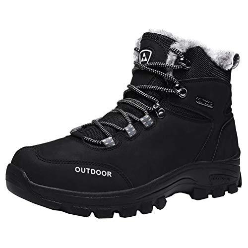 JIANYE Zapatos para hombre calientes del invierno alineada piel de la nieve botas de agua botas de invierno antideslizante Trekking Senderismo Botas Negro 40 De los hombres Negro 6.5 UK