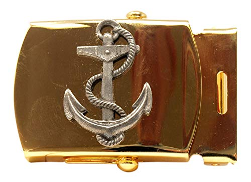 Nautical Anchor Brass Buckle, Military Style, 1-1/4' wide