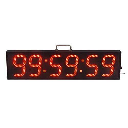 EVFIT Temporizador de Gimnasio 6 Pulgadas Hight Personaje Solo Lado Timing LED Sport Reloj de Cuenta atrás/up Timer con Control Remoto IR (Color : Red, Size : Digital Height 6inch)