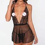 wlsdhjfo Lingerie Sexy Donna Hot per SessolingerieSexy Abiti da Notte da Donna SexyHotVestiti Erotici Vestito Nero Plus Size Nuovi Costumi da Donna Porno S-3Xl-Black_XL
