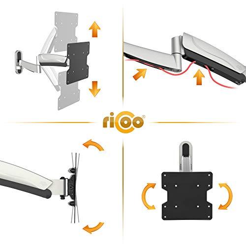 RICOO Ferseh-Halterung S2722 mit Gasdruckfeder Flachbild-Fernseher O-LED Wohnwand LCD TV Wandhalterung Schwenkarm Flachbildschirm Fernseh-Wand-Halter - 4