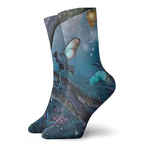 Dibujado a mano con arrecife de coral conchas marinas Caballos de mar y estrellas de mar Calcetines deportivos para hombres y mujeres