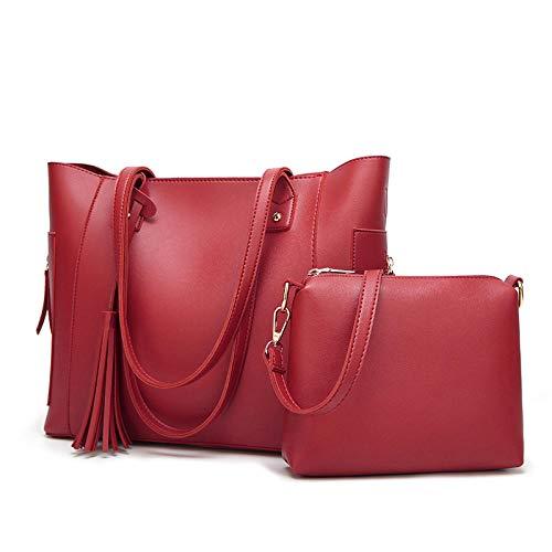Damen Tasche Tote PU-Einkaufstasche Schulter Umhängetasche Quaste Handtasche 2 Stück Anzug Weinrot Handtasche Damen Reise Leder Handtasche Damen-Umhängetaschen für Büro Schule Einkauf