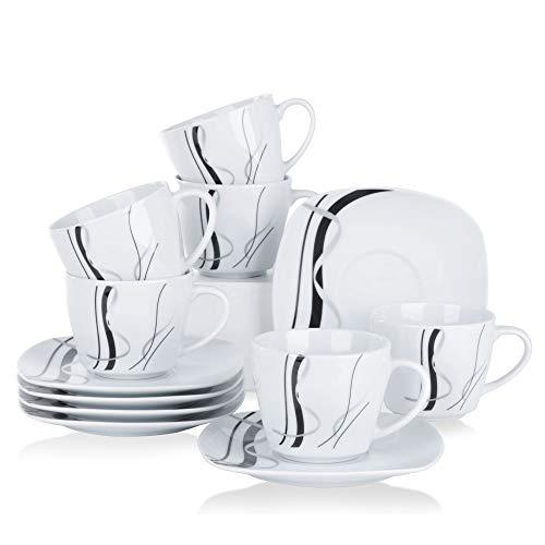 VEWEET Porzellan 6 Kaffeetassen mit 6 Untertassen \'Fiona\' 12-teilig Set | Füllmenge 220 ml | Ergänzung zum Tafelservice \'Fiona\' | Kaffeeservice Set für 6 Personen