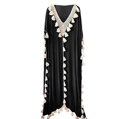 TWIFER Damen Böhmen Langes Kleid Ethnischen Stil Quaste Strandkleidung Sommer Festkleid