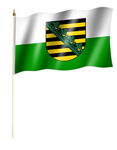 Stockflagge/Stockfahne SACHSEN Flagge/Fahne ca. 30 x 45 cm mit ca. 60cm Stab/Stock