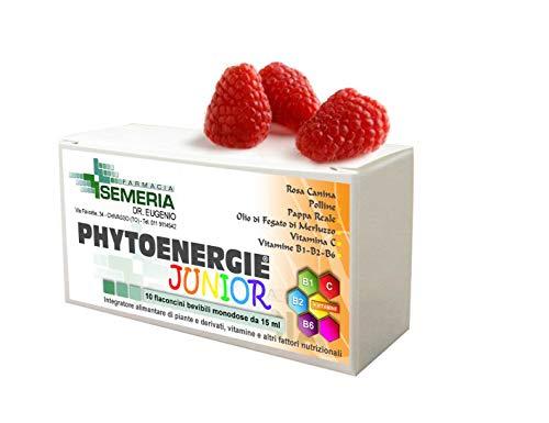 Phitoenergie Junior Plus 10 Flaconicini Energia per Bambini con Pappa Reale, Polline, Rosa canina e Vitamine