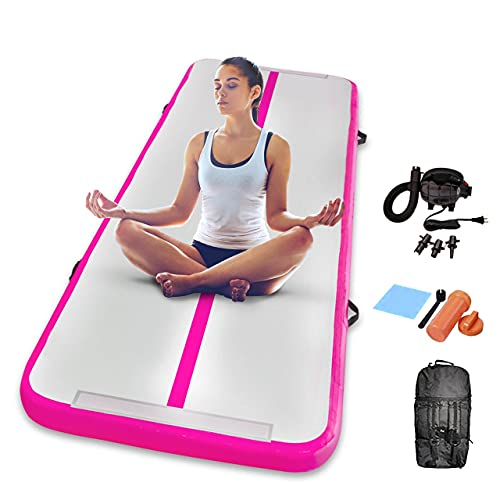 Gymnastics Inflatable Air Tumbling Mat 13Ft 16Ft 20Ft Track Air Mats With Electric Air Pump For Beach,Training,Cheerleading,Water Yoga (White+Pink, 9.84FT)