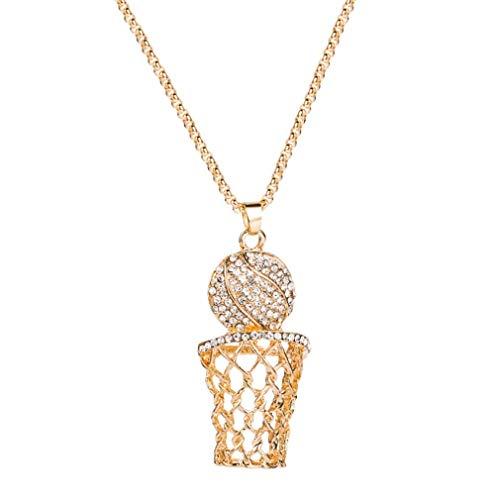 SeniorMar-UK Collar de aro de Baloncesto de Diamantes de aleación Collar de Hip Hop Femenino Collar Creativo Europeo y Americano Oro