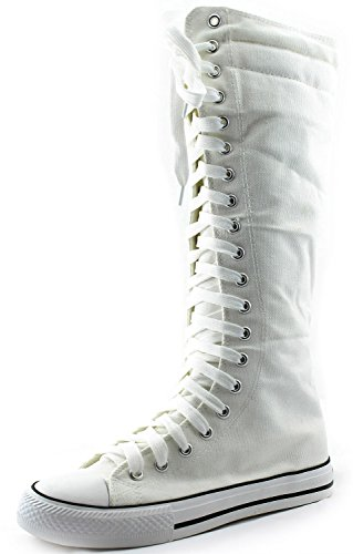 DailyShoes Women's Sneaker Boots Bootie Knee-high Mid Calf Tall Fashion Sneakerss Lace Up Dress Shoes Thick Bottom Lace-up Super High Top Athletic for Women Punk-hi White 10