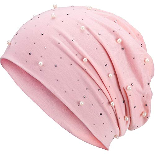 Compagno Slouch Beanie mit Perlen aus atmungsaktivem, feinem und leichten Jersey Unisex Damen Mütze Haube Boho Bini Mädchen Einheitsgröße, Farbe:Rosa