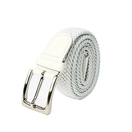 Glamexx24 Unisex Elastischer Stoffgürtel Geflochtener Stretchgürtel Dehnbarer Gürtel für Damen und Herren, Weiß, 105cm