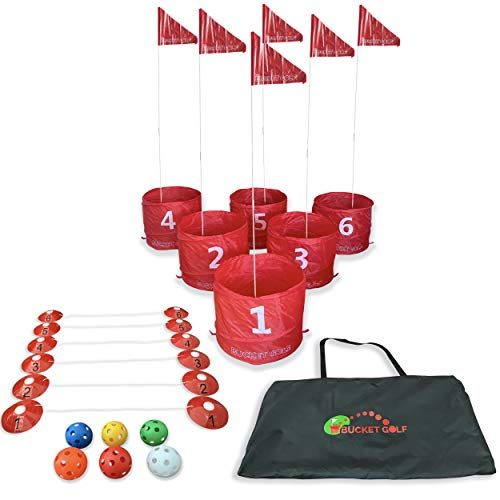 Elevate Sports Bucket Golf The Ultimate Backyard Golf Game for Kids and Adults - Portable 6 Hole Golf Course Play Outdoor, Lawn, Parks, Beaches