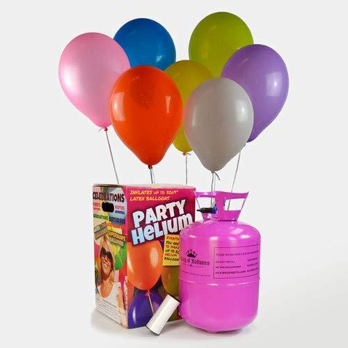 We Are Party Bombona de Helio Maxi 0,42m3 + 50 Globos de Colores Calidad Helio 28cm Made In Spain