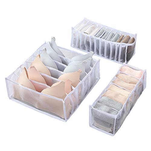 3 Pcs Underwear Drawer Organizer Set Nylon Mesh Foldable Organizer Closet Dividers Clothes Storage Boxes Bins Containers 6711 Cell for Panties Ties Bras Socks White