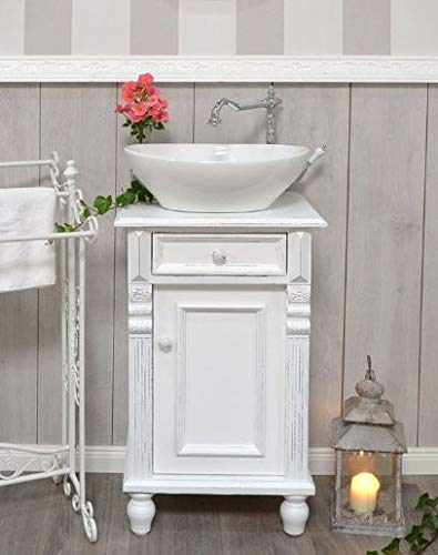 Gäste-Waschtisch Shabby-Chic Weiß Waschbecken mit Unterschrank Badmöbel Landhausstil Vintage Nostalgie