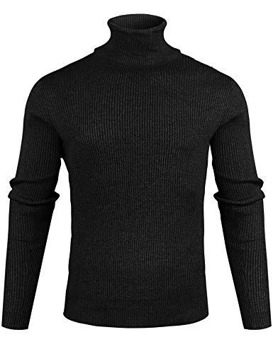 Sykooria Jersey Hombre Cuello Alto Invierno Suéter de Punto Cálido Delgado Sweater Pullover Hombre de Manga Larga