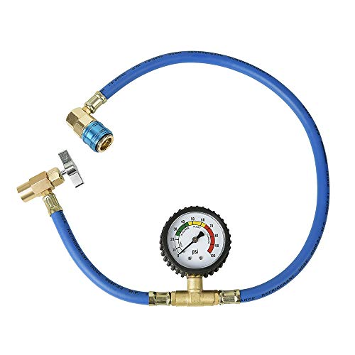 Aain(R) LX1383V Ac Recharge Hose with Gauge Extra Long 24 inch Hose,r134a Charging Hose with Gauge fits for Car AC Air Conditioning Refrigerant