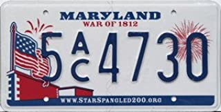 Maryland War of 1812 Bicentennial License Plate blue numbers on white with American Flag and Fireworks