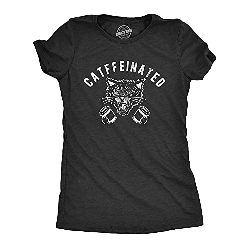 Womens Catffeinated Tshirt Funny Cat Caffeine Coffee Lover Graphic Novelty Tee (Heather Black) - XXL