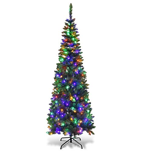 SHATCHI 4Ft-8Ft Pre-Lit Artificial Slim Christmas Pencil Tree Holiday Home Decorations, Pointed Tips, Warm White/Multicolour LEDs and Metal Stand, Green W/Mullticolour, 8Ft