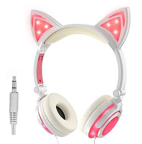 LIMSON Auriculares Sobre la Oreja con Oreja de gato, Headphones Plegables Recargables LED luz Brillante Headset para Niños, Adultos, Niñas R107 (Rosado)
