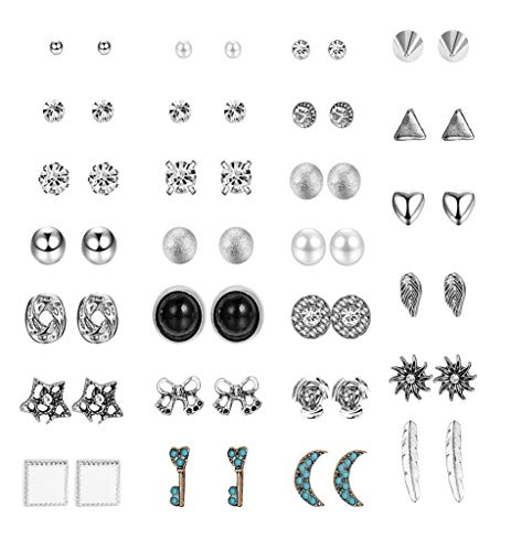 Finrezio 27 Assorted Multiple Studs Earring Set for Women Girls Vintage Heart Moon Ball Earrings Bohemia Retro Style