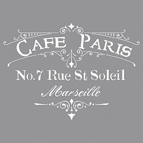 RAYHER HOBBY 38904000 Schablone Café Paris, 30,5 x 30,5 cm, Polyester, SB-Btl 1 Stück