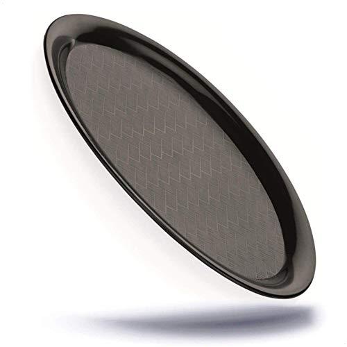 Kerafactum Serviertablett ovale Servierplatte in schwarz Servier Tablett kleines Gläsertablett zum abräumen Oval aus Kunststoff matt mit geriffeltem Boden Platte zum servieren Spülmaschinenfest