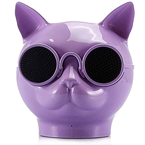 ACEMIC Portable Cat Head Creative Bluetooth Wireless Speaker, Touch Radio HiFi Subwoofer Speaker HD Speaker for Home Office Outdoor,The Best Gift for Friends,Purple