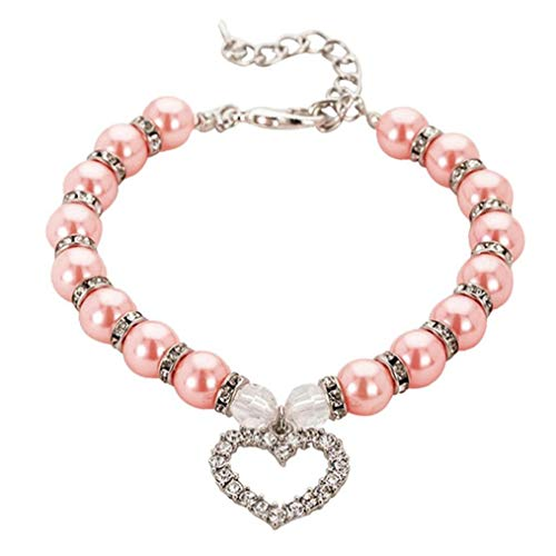 Ruluti Collar De Perro Corazón Colgante Collar De Perlas Perrito del Cristal Brillante Collares De Diamantes De Imitación para Mascotas Decoración