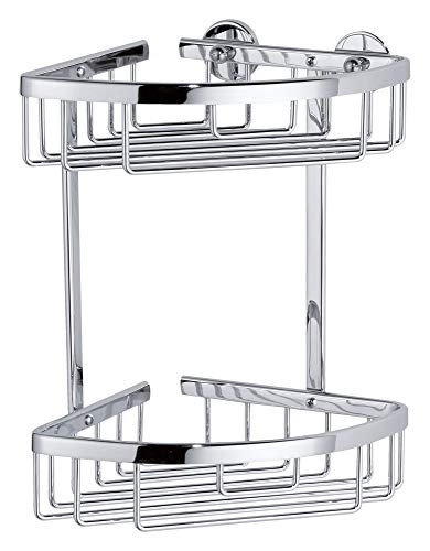 tesa ALUXX Duschablage für die Ecke, zweistöckig, Aluminium, verchromt, rostfrei, inkl. Klebelösung, 260mm x 163mm x 170mm