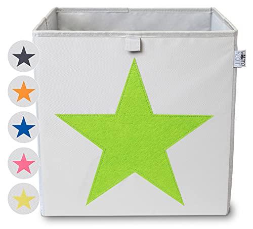 wonneklein Aufbewahrungsbox STERN in 6 Farben I extra stabil I Kiste (33x33x33 cm) zur Aufbewahrung im Würfelregal im Kinderzimmer, Jugendzimmer, Wohnzimmer I graue Box mit Filz Stern als Deko (grün)