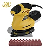 TOPVORK Detail Sander, 1.6A Sander with 10Pcs Sandpapers, 360° Rotating Sanding Pad, 12000OPM, 3M Cord, Dust Container, Perfect for Tight Spaces Sanding