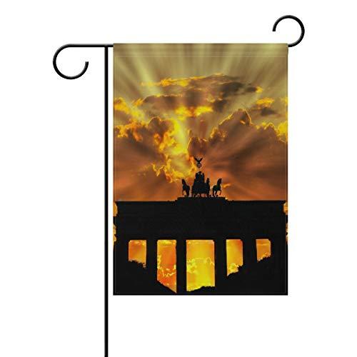 FAJRO Fantastische Brandenburger Tor Flagge Hofdekor Gartenflagge für Garten doppelseitig, Polyester, 1, 12x18(in)
