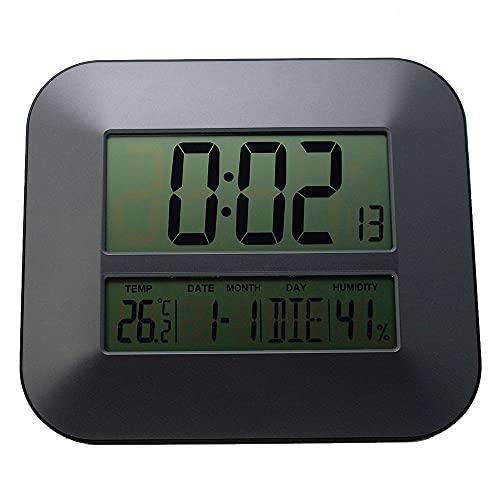 XHNXHN Reloj despertador Reloj de pared digital de tiempo controlado por radio con termómetro de temperatura Humedad higrómetro/mesa decorativa despertador