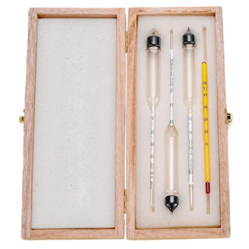 EFANTUR 3pcs Alkoholmeter 1 Thermometer Alkoholmessgerät Tester Alkoholgehalt 0-40 Vol%, 40-70 Vol%, 70-100 Vol% für Alle Spirituosen/Destillate Whisky, Brandy, Wodka Etc