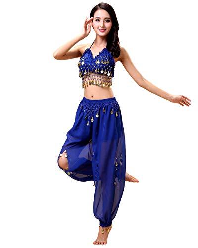 Grouptap Bollywood Donne India Arabian Lady danzatrice del Ventre Paillettes Pantaloni a Fessura Superiore Vestito Costume da Festa Blu Vestito per Adulti Fantasia (Blu, 150-170 cm)