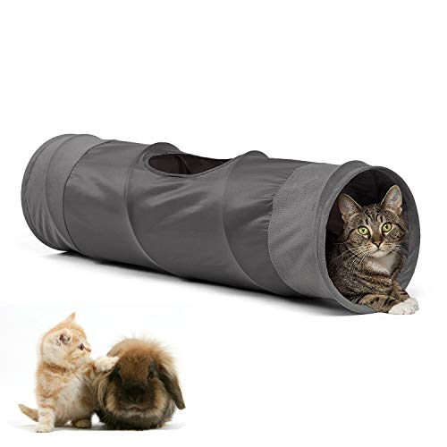 LeerKing Katzentunnel Katzenspielzeug Faltbar Spieltunnel Rascheltunnel für alle Katzen und kleine Tiere 2 Höhlen 90 * 25cm Grau