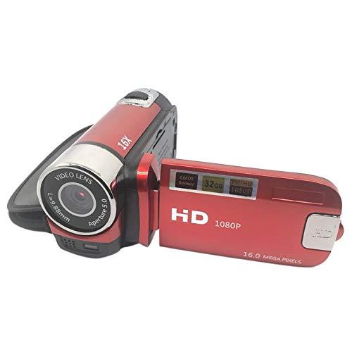 QiKun-Home Cámara D90 Cámara Digital 16MP Cámara Ultra HD Rotación de 180 Grados Cámara con Pantalla abatible Cámara Digital SLR Zoom Digital 4X Rojo
