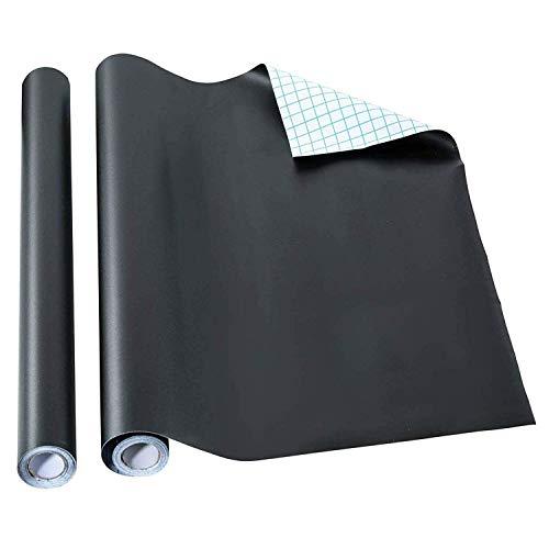 BannerBuzz Krijtbord Zwart Contact Papier Roll - Zelfklevende Vinyl Decal Muursticker met Gekleurde Krijtdoos Gratis voor Thuis, Kantoor & Decor 46cm x 102cm Zwart