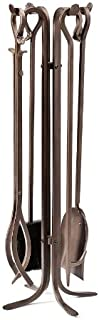 Plow & Hearth 36163-BRZ Hand-Forged Fireplace Tool Set, in Bronze, B, 13 Dia. x 28H,