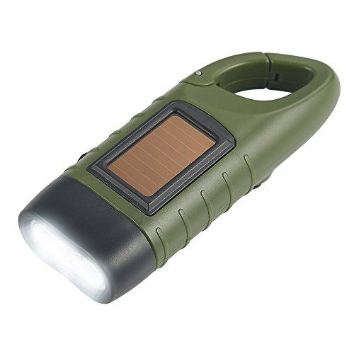 Simpeak Linterna LED Linterna Mini Portátil, LED Linterna de Mano Resistente al Agua con Cargador Solar Linterna Dinamo para Ciclismo,Camping, Montasmo - Verde del ejército