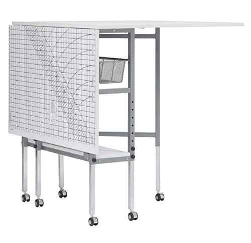 Studio Designs Sew Ready Mobile, Folding, Height Adjustable, Quilting, Fabric Cutting Table with Grid Top and Storage in Silver/White (13386)