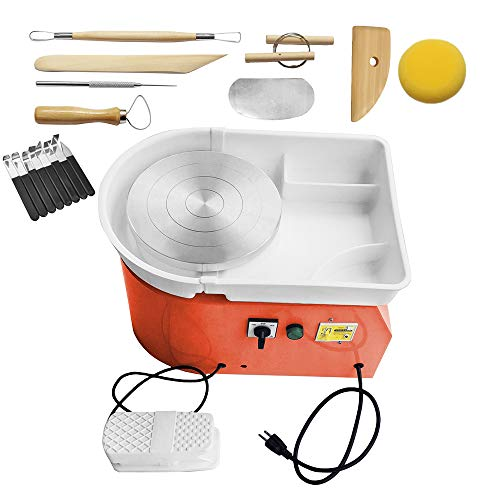 ZXMT 9.8'' Table Top Pottery Wheel Potters Forming Machine Ceramics Clay Tool Kit with Adjustable Foot Pedal for DIY Clay Adult (Orange)
