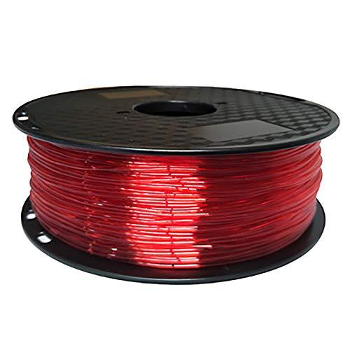 3D Printer TPU Filament 1.75, Red TPU Flexible Filament 1.75mm, Suitable For FDM 3D Printer, 1KG Spool, TPU Transparent Red Material