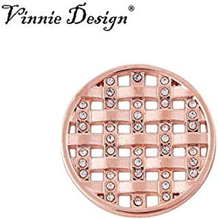 Davitu Jewelry 33MM Cross Hatch Disc Crystals Carlo Biagi Coin for My Coin Holder Pendant - (Metal Color: Rose Gold)