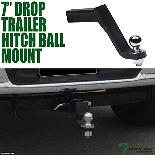 Lowest Price! Topline Autopart Universal 7″ Drop Rear Bumper Trailer Tow Hitch Loaded Ball Mount With Pin & Clip Kit For 2″ x 2″ Towing Receiver Tube